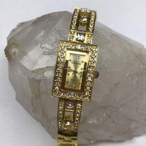Vintage yellow gold rhinestone watch quartz Japan